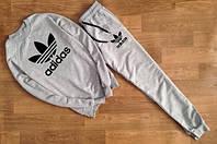 ТЕПЛЫЙ Мужской Спортивный костюм Adidas серый (черный принт)