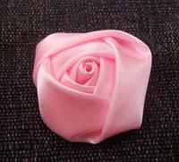 Розочка атласные розовая 3 см.