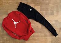 ТЕПЛЫЙ Модный спортивный костюм Jordan Джордан красный с черными штанами (большой белый принт)