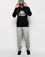 ТЕПЛЫЙ Модный спортивный костюм Kappa Каппа черный с серыми штанами (большой принт)