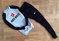 ТЕПЛЫЙ Трикотажный спортивный мужской костюм Nike Just Do It серый с черным рукавом (большой принт)