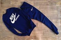 ТЕПЛЫЙ Мужской Спортивный костюм Nike Sportswear темно-синий (большой белый принт)