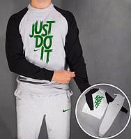 НАЧЕС Модный спортивный костюм Nike Найк серый с черными рукавами (большой принт)