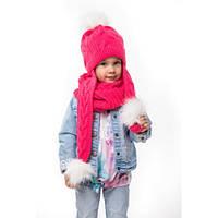 Вязаная шапочка с ушами-шарфом. Флис. р.р 48-52