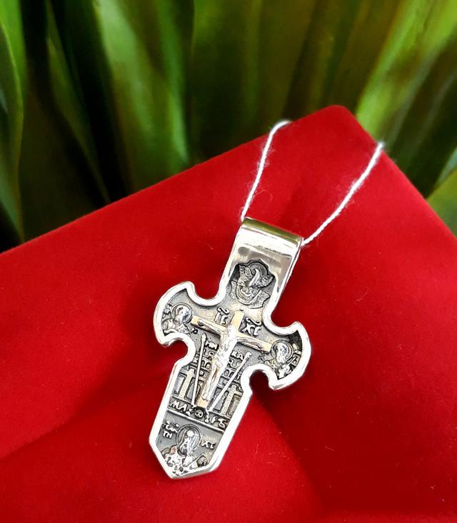 Мужской серебряный крестик с распятием фото 5