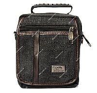 Тканевая мужская барсетка-сумочка 3в1 черного цвета (311)