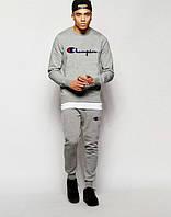 НАЧЕС Качественный серый спортивный костюм Сhampion Чемпион (большой принт) (РЕПЛИКА)
