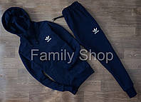 НАЧЕС Спортивный костюм Adidas Адидас Темно синий (маленький принт) (РЕПЛИКА)