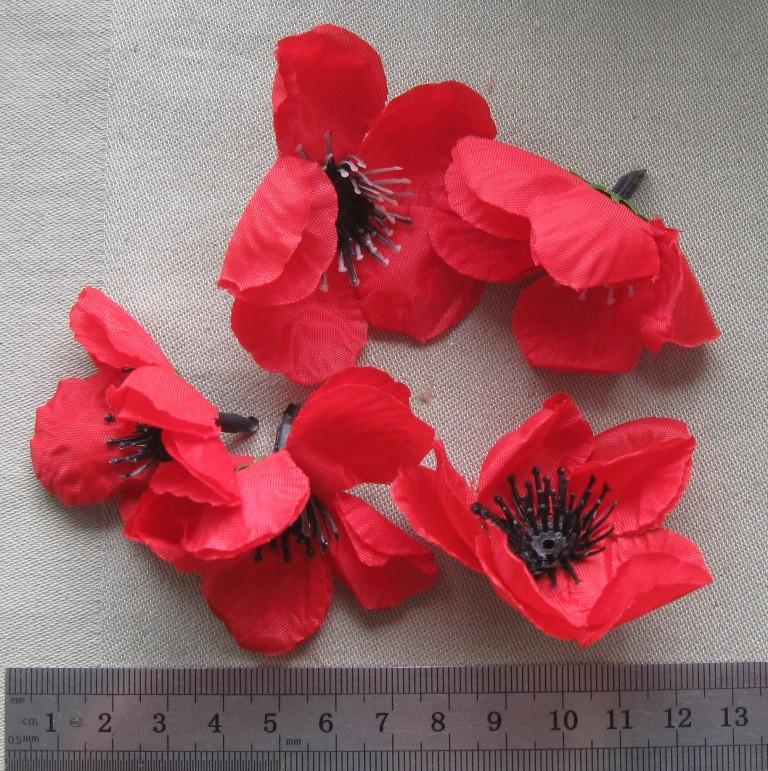 """Штучні квіти """"Мак"""" з тканини, 5,5 см"""
