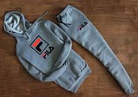 ЗИМНИЙ Мужской Спортивный костюм FILA серый c капюшоном( квадрат)