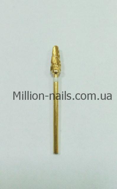 Насадка для фрезера, конус (цвет золото, белый ободок)