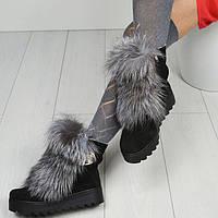 Женские ботинки верх замша, кожа, мех натуральные зимние черные белые Ko0044