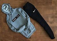 ЗИМНИЙ Мужской Спортивный костюм Nike F.C. серый cчёрным c капюшоном