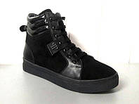 Женские ботинки РР верх натуральная кожа/замша весна-осень черные Ko0478