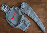 УТЕПЛЕННЫЙ Мужской Спортивный костюм Nike Найк серый c капюшоном (красный принт)