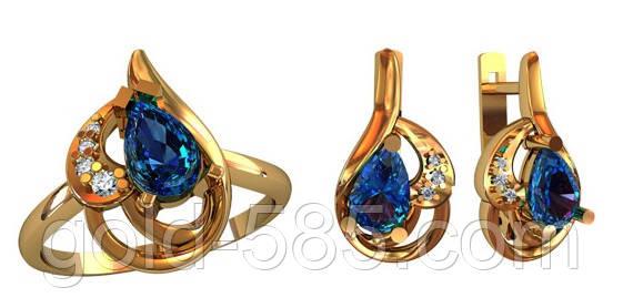 Стильный золотой ювелирный комплект 585  пробы с камнями  продажа ... d851ec1ce82