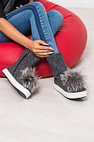 Женские ботинки-полусапожки верх войлок обувной, мех натуральный весна-осень/зима Ko0038