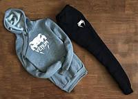 ТЕПЛЫЙ Мужской Спортивный костюм Venum Венум серо-чёрный с капюшоном (большой белый принт)