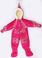 Детский зимний комбинезон-трансформер для девочек Гномик с принтом снеговики