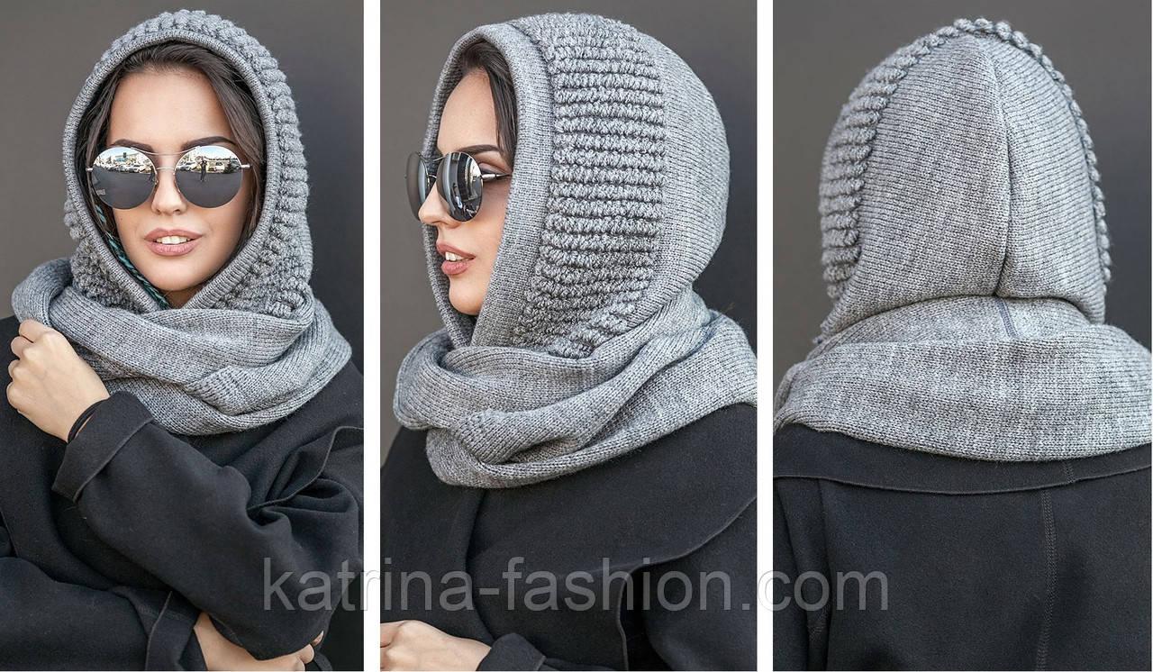 Женский шарф-хомут (шапка-капор) (5 цветов)