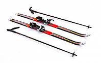 Лыжи беговые с палками красные 130 см ZEL