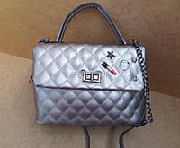 Стильная небольшая женская сумка серебро золото черная качество премиум класса