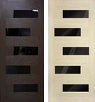 Двери межкомнатные Домино ПВХ с черным стеклом