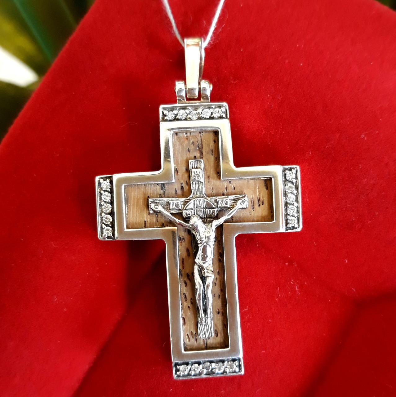 Крест мужской из серебра с деревом