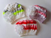 Головной убор для девочек Нарядная вязаная шапка с бантом 1510+ Китай