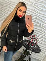 Теплая женская куртка внутри синтепон, мех съемный под норку, цвет черный