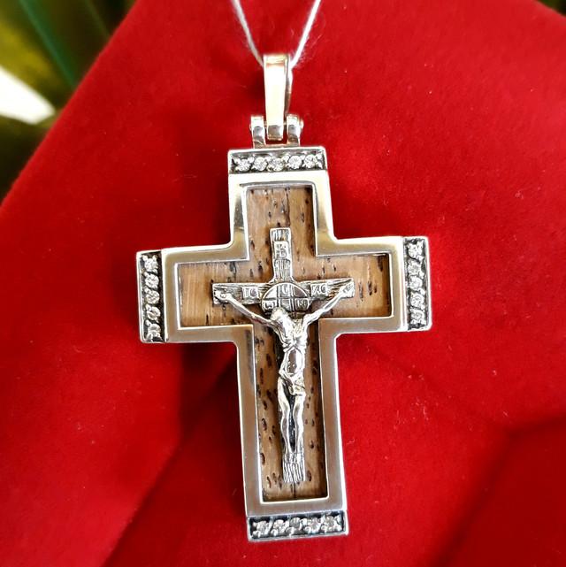 Крест мужской из серебра с деревом картинка