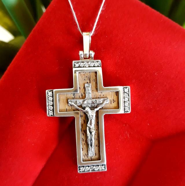 Крест мужской из серебра с деревом картинка 3