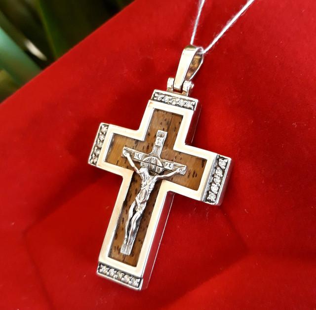 Крест мужской из серебра с деревом картинка 4