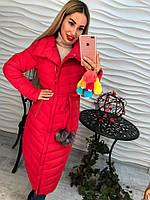 Теплое женское удлиненное пальто плащевка внутри синтепон, цвет красный