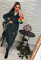 Теплое женское удлиненное пальто плащевка внутри синтепон, цвет изумруд