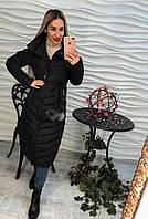 Теплое женское удлиненное пальто плащевка внутри синтепон, цвет черный