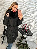 Теплое женское удлиненное пальто внутри синтепон, мех съемный с каппюшоном, цвет черный