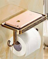 Держатель туалетной бумаги с полочкой Art Design R155 Бронза