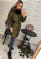 Теплое женское удлиненное пальто внутри синтепон, мех съемный с каппюшоном, цвет оливковый