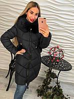 Теплое женское удлиненное пальто внутри синтепон, мех съемный с каппюшоном, цвет темно синий