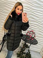Теплое женское удлиненное пальто внутри синтепон, мех съемный на рукавах довяз, цвет черный