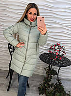 Теплое женское пальто внутри синтепон, мех искусственный съемный, цвет серый