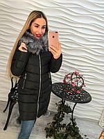 Теплое женское пальто внутри синтепон, мех искусственный съемный, цвет черный
