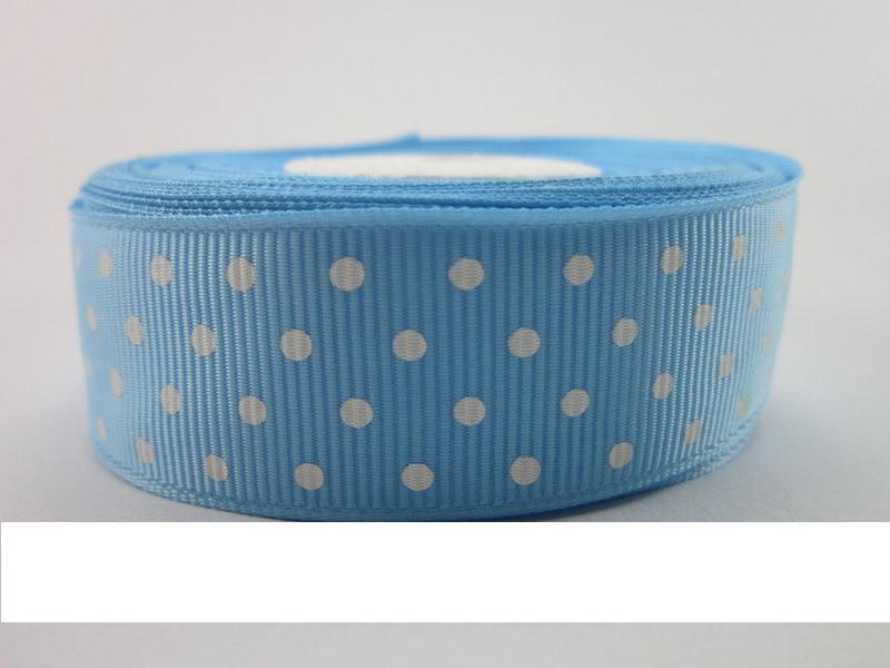 Лента репсовая в горошек 25 мм * 1 м  (Голубой)