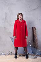 Осеннее кашемировое пальто большого размера с отделочной строчкой