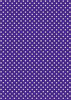 Подарочная бумага (упаковочная) насыщенного фиолетового (сиреневого) цвета в белый горох