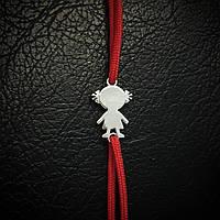 """Шнуровой браслет с серебром """"Девочка"""", 160мм"""