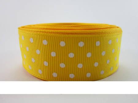 Лента репсовая в горошек 25 мм * 1 м  (желтый)