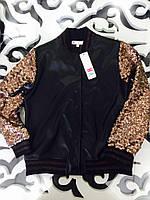 Курточка бомбер из экокожи для девочки с рукавами в пайетки 8-16 лет