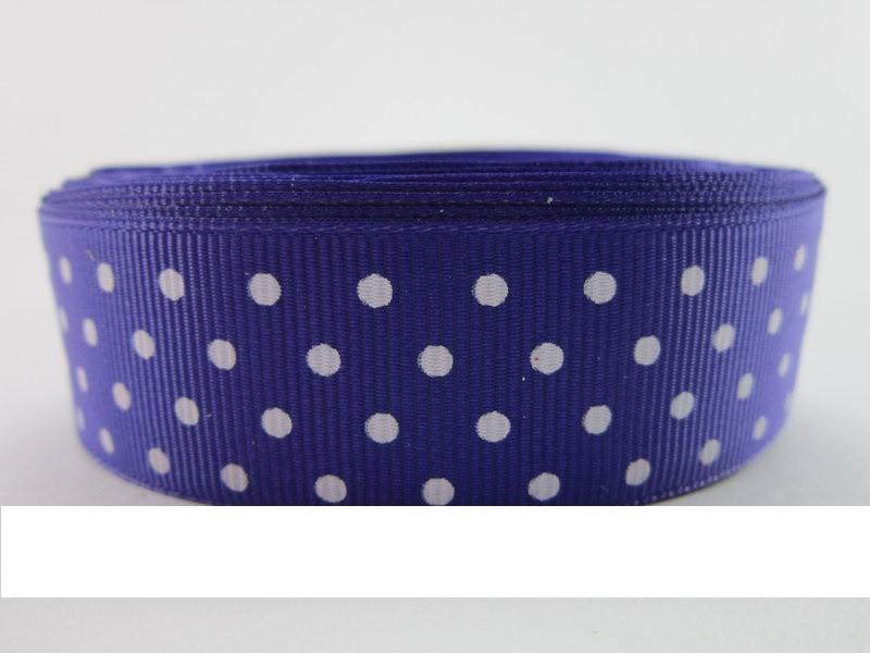 Лента репсовая в горошек 25 мм * 1 м  (фиолетовый)
